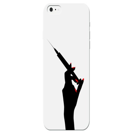 Medical Shot Needle With Red Fingernails Back Cover For Iphone 7 Nurse Case