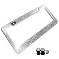 Zone Tech Shiny Bling License Plate Frame - Crystal Bling  Novelty/License Plate Frame with Mounting Screws