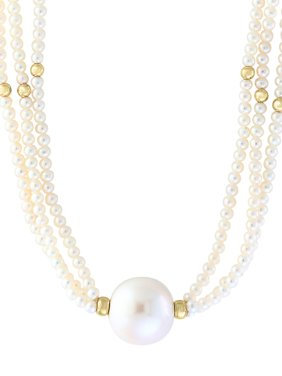 14K Yellow Gold and Freshwater Pearl Necklace
