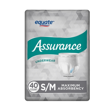 Equate Assurance Underwear for Men, Maximum, S/M, 40