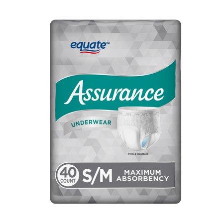 Equate Assurance Underwear for Men, Maximum, S/M, 40 Ct ()