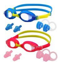 Kids Swimming Goggles, IPOW 2 Pack Anti-Fog Swim Goggles Glasses for Kids Girls Boys Children,Waterproof No-Leaking Kids Goggle with 2 Nose Clip+2 Ear Plugs, Pink + Blue