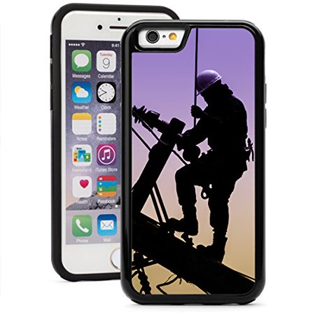 For Apple iPhone Shockproof Impact Hard Soft Case Cover Electrician Lineman Repairman Worker (Black for iPhone 7