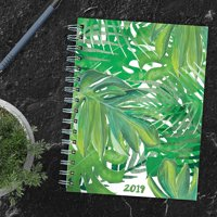 "2019 Jungle Leaves 6.25"" x 8"" January 2019-December 2019 Medium Weekly Monthly Planner"