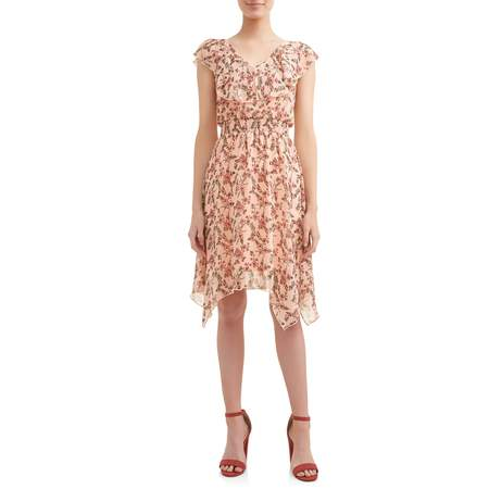 No Boundaries Juniors' Ruffle V-Neck Smocked Sharkbite Dress - Junior Spring Dresses