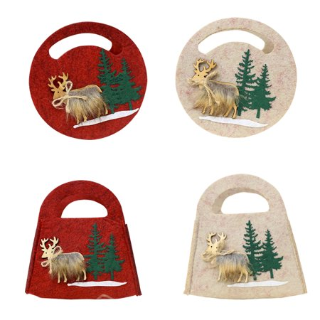 Christmas Elk Candy Cookie Gift Bag Felt Three-dimensional Bags Xmas Party Decoration - Christmas Cookie Bags