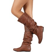 4a86e3bb6663 Womens Slouch Mid-Calf Boots Ladies Flat Slip On Knee High Boot Shoes Casual