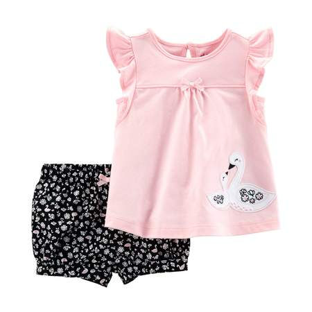 Short Sleeve Top and Shorts Outfit, 2 piece set (Baby Girls) - Santa Outfits For Girls
