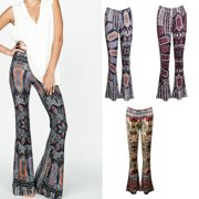 dd4d7b3d7c New Fashion Womens Floral Wide Leg Pants Casual Summer Soft Paisley Bell  Bottom Wide Leg Flare