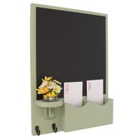 Mail Organizer with Chalkboard, Key Hooks & Mason Jar