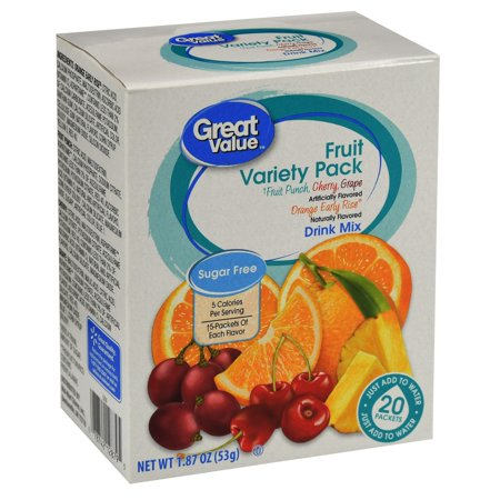 Great Value Sugar-Free Assorted Fruit Drink Mix Variety Pack, 1.87 Oz., 20 (Cytomax Drink Fruit)