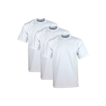 Pro Club Men's Heavyweight Cotton Short Sleeve Crew Neck T-Shirt, White, Small, (3 (Pro Neck)