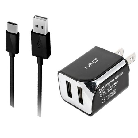 2-in-1 Micro-USB Chargers for Motorola Moto G5S Plus,G5S, E4 Plus, E4, Moto C, C Plus, G5, G (5th Gen.), G5 Plus, E3 Power (Black) - 2.1Ah Travel Charger Adapter (Dual Port) + USB Charging Cable