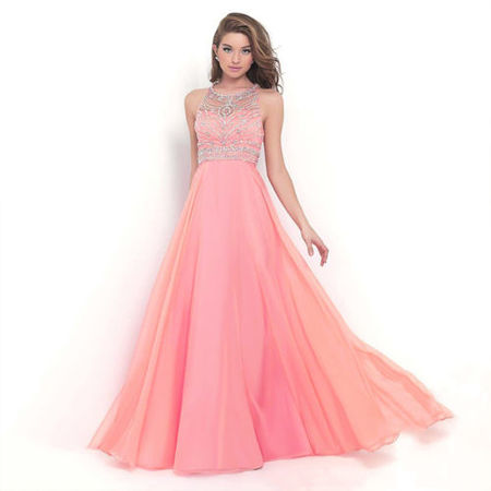 Womens Ballgown Long Dress Chiffon Evening Party Formal Bridesmaid Prom Ball Gowns Dress Sleeveless Chiffon Empire Beaded Bodice Dress