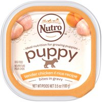 (24 Pack) NUTRO PUPPY Wet Dog Food Cuts in Gravy Tender Chicken and Rice, 3.5 oz. Tray