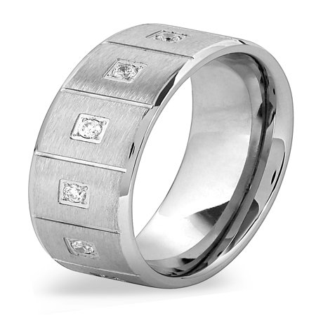 Stainless Steel Brushed Cubic Zirconia Square Textured Ring (Stainless Steel Square Ring)