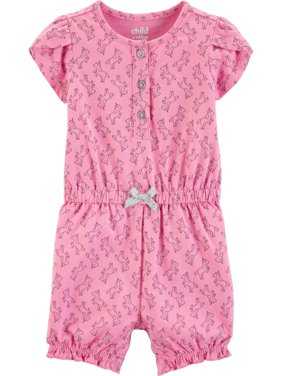 Short Sleeve One Piece Romper, (Baby Girls)