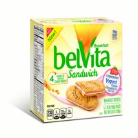 (6 Pack) Belvita Strawberry Yogurt Creme Breakfast Biscuit Sandwiches, 8.8 Oz