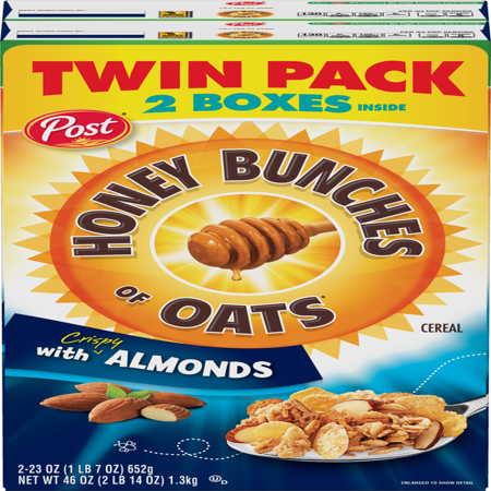 (2 Pack) Post Honey Bunches Of Oats Cereal, Almonds, 46 (Honey Bunches Of Oats With Vanilla Bunches)