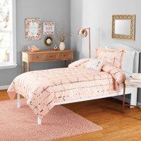 Your Zone Metallic Print Mini Comforter Set with Dec Pillow