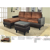 AYCP Furniture Small 3 Seats L Shape Simple Sectional Sofa Couch Set with Ottoman, Left and Right Swap, Faux Leather and Microfibr Upholstery Material, Chocolate Color, 35.8'' H x 78.4'' W x 59'' D