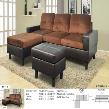 AYCP Furniture Small 3 Seats L Shape Simple Sectional Sofa Couch Set with Ottoman, Left and Right Swap, Faux Leather and Microfibr Upholstery Material, Chocolate Color, 35.8'' H x 78.4'' - Sectional Sofa Set Couch