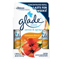 Glade Sense & Spray Automatic Air Freshener Refill, Hawaiian Breeze, 0.86 oz, 2 ct