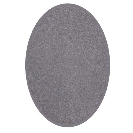 Saturn Collection Solid Color Area Rugs Grey - 2'x8' Oval - Black And White Floor Runner