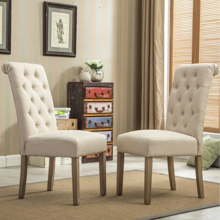 Roundhill Furniture Habit Solid Wood Tufted Parsons Dining Chair, Tan, Set of (Parsons Chair Set Chair)
