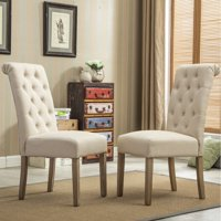 Roundhill Furniture Habit Solid Wood Tufted Parsons Dining Chair, Tan, Set of 2