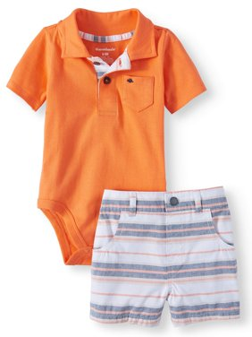 Baby Boys' Polo Bodysuit and Plaid Shorts, 2-Piece Outfit Set