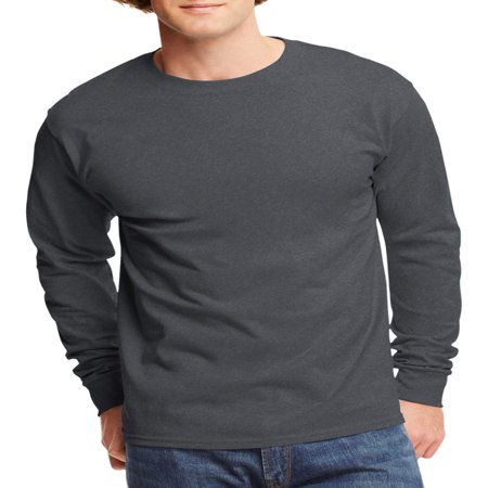 Deluxe Long Sleeve Shirt - Mens Tagless Cotton Crew Neck Long-Sleeve Tshirt