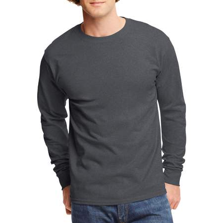 Mens Tagless Cotton Crew Neck Long-Sleeve Tshirt - Mens Vintage T-shirt Charcoal