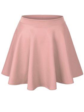 KOGMO Womens Basic Solid Versatile Stretchy Flared Casual Skater Skirt