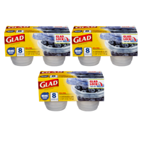 (3 Pack) Glad Food Storage Containers - Mini Round Containers - 4 oz - 8 Containers