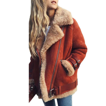 Womens Fleece Fur Biker Aviator Jacket Coat Winter Warm Lapel Outwear Plus (Fur Womens Mink Coat)