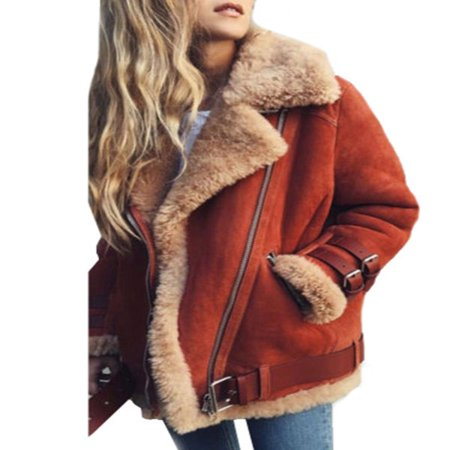 Womens Fleece Fur Biker Aviator Jacket Coat Winter Warm Lapel Outwear Plus Size 2 Piece Winter Jacket