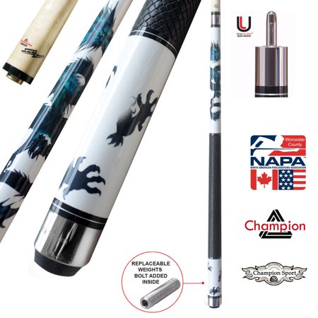 Champion White Dragon Pool Cue Stick with Predator Uniloc Joint, Low Deflection Shaft (18 oz, 11.75 mm, Tiger (Cue Shafts)
