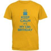 Keep Calm 13th Birthday Boy Gold Youth T-Shirt