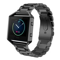 Fitbit Blaze Accessories Watch Band, Mignova Solid Stainless Steel Link Bracelet Replacement Band Strap with Durable Folding Clasp + Metal Frame for Fitbit Blaze Smart Fitness Watch (Black)