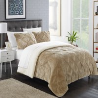 Chic Home 3-Piece Chiara Pinch Pleated Ruffled and Pin tuck Sherpa Lined Queen Bed In a Bag Comforter Set Burgundy