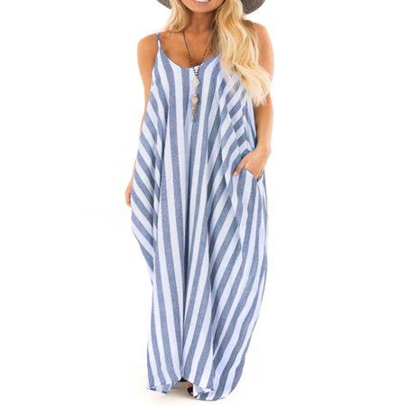 Summer Holiday Women Strappy Striped Long Boho Dress Casual Ladies Beach Maxi Dress Sundress - Striped Maxi Dress