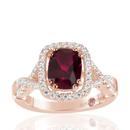 Created Ruby Solitaire (Rose Sterling Silver Created Ruby and White Cubic Zirconia Engagement)