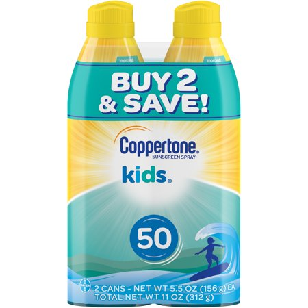 Body Spray Spf 30 Sunblock (Coppertone Kids Sunscreen Spray SPF 50, Twin Pack (5.5 oz Each))