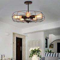 Gymax Industrial Vintage Semi Flush Mount Ceiling Light Metal Hanging Fixture 5-Light