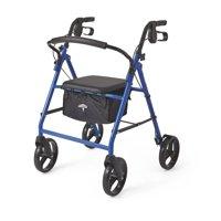 """Medline Steel Foldable Rollator Walker with 8"""" Wheels, Blue"""