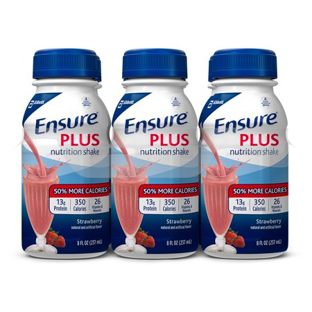 Ensure Plus Nutrition Shake with 13 grams of high-quality protein, Meal Replacement Shakes, Strawberry, 8 fl oz, 24