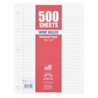 "Norcom 500 Sheets Wide Ruled Filler Paper, 10.5"" x 8"""