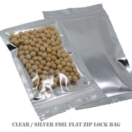 - MTP 100X Flat Style Clear/ Silver Aluminium Foil Reusable Reclosable Zip Lock Bag Food Save Flat Mylar Metallic Pouches