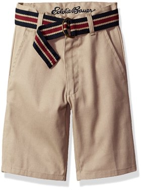 Boys Uniform Twill Flat Front Short with Belt and Phone Pocket